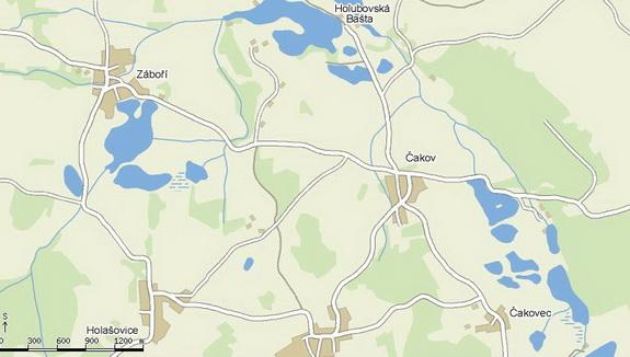 Mapa, kde se nachází obec Čakov