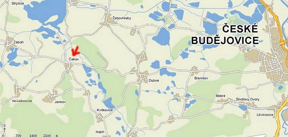 Mapa, kde najdete obec Čakov - nižší rozlišení